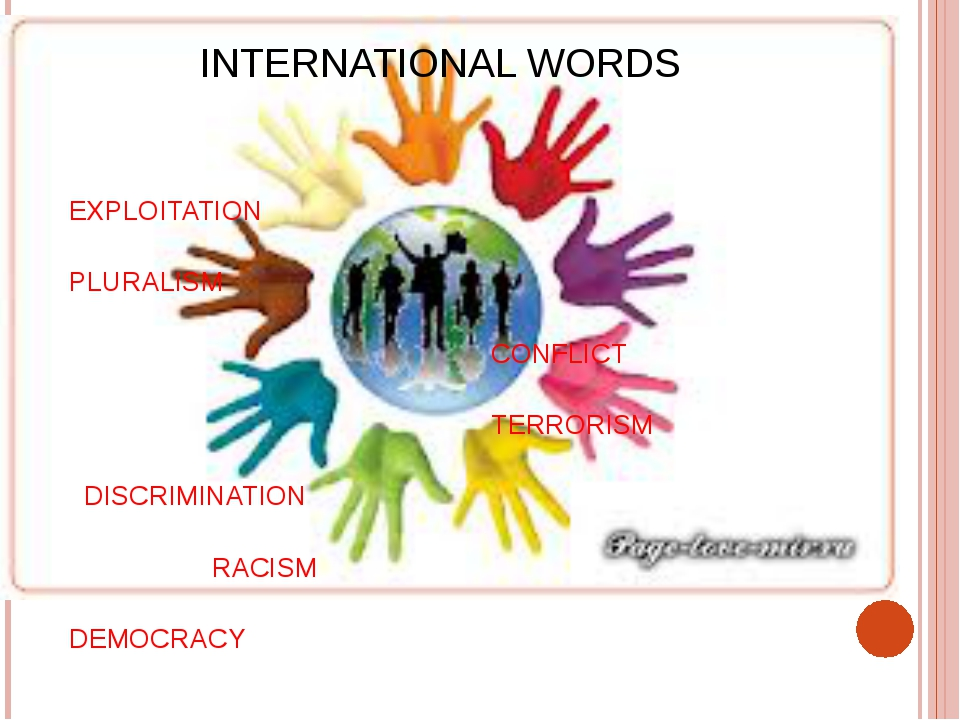 INTERNATIONAL WORDS EXPLOITATION PLURALISM CONFLICT TERRORISM DISCRIMINATION...