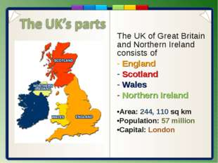 The UK of Great Britain and Northern Ireland consists of England Scotland Wal