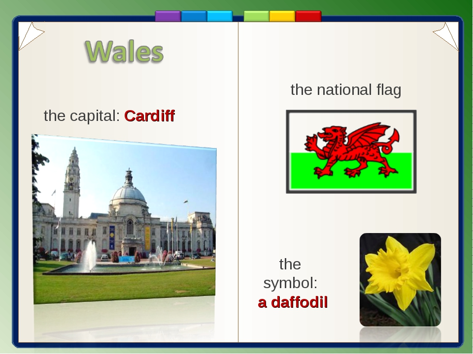 the capital: Cardiff the symbol: a daffodil the national flag