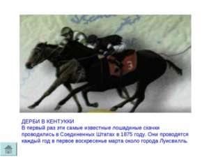 ДЕРБИ В КЕНТУККИ В первый раз эти самые известные лошадиные скачки проводилис