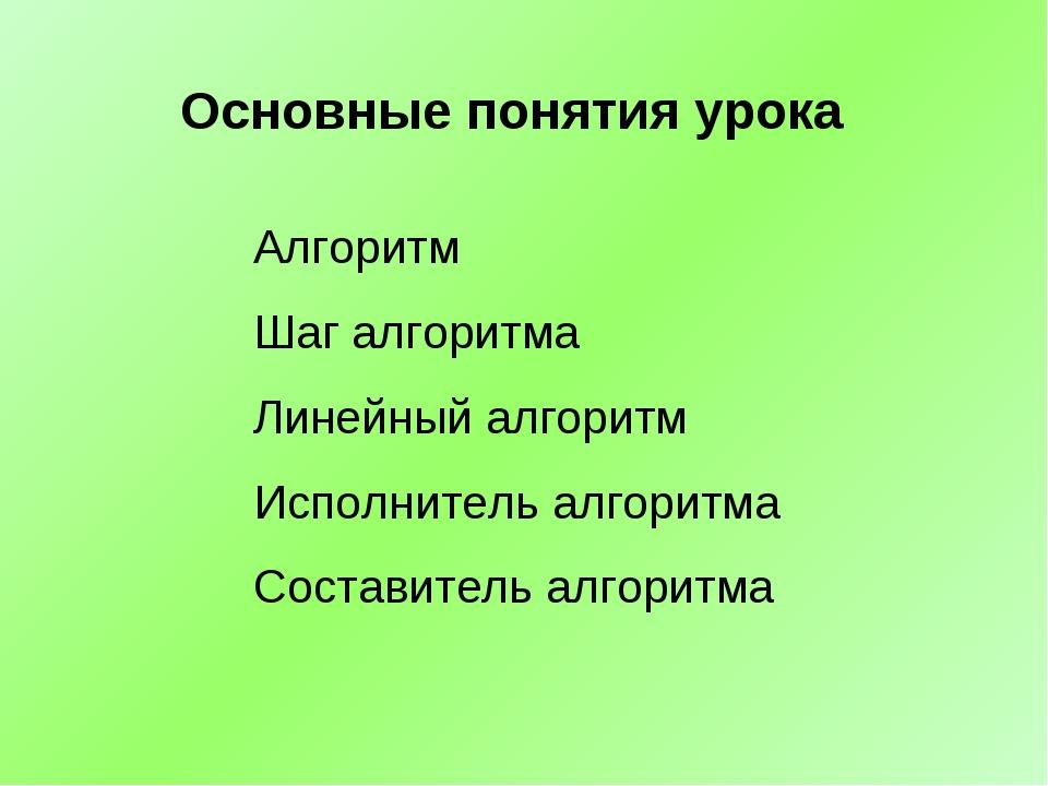 Алгоритм Шаг алгоритма Линейный алгоритм Исполнитель алгоритма Составитель ал...