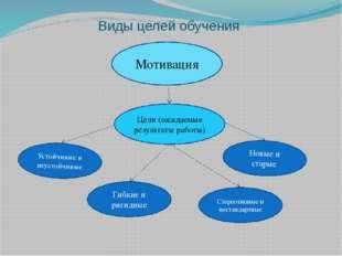 Виды целей обучения Цели (ожидаемые результаты работы) Новые и старые Стереот