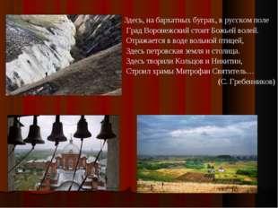 Здесь, на бархатных буграх, в русском поле Град Воронежский стоит Божьей воле
