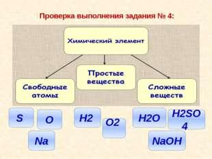Проверка выполнения задания № 4: O2 Na O S NaOH H2SO4 H2O H2