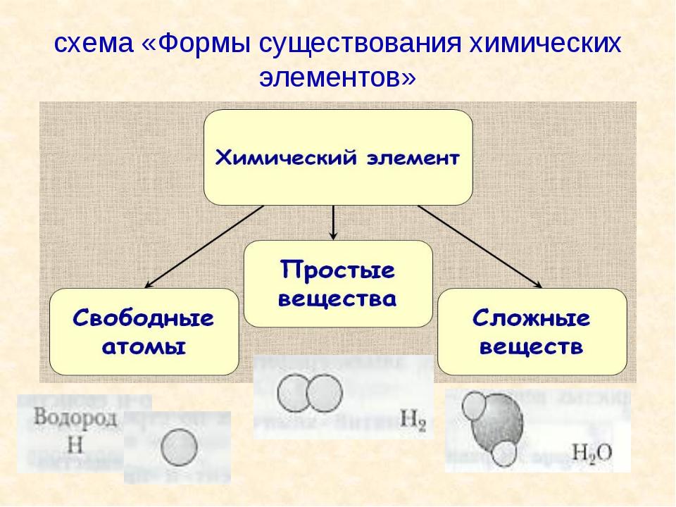 схема «Формы существования химических элементов»