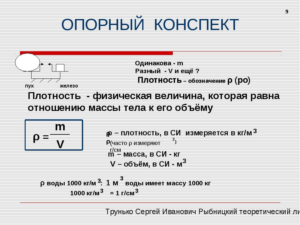 ОПОРНЫЙ КОНСПЕКТ пух железо Одинакова - m Разный - V и ещё ? Плотность – обоз...