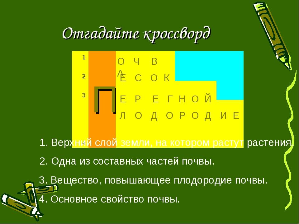 Отгадайте кроссворд 1. Верхний слой земли, на котором растут растения. О Ч В...