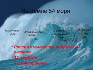 На Земле 54 моря Россия омывается водами 3-х океанов 12 морями + 1 внутреннее