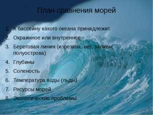 План сравнения морей К бассейну какого океана принадлежит. Окраинное или внут