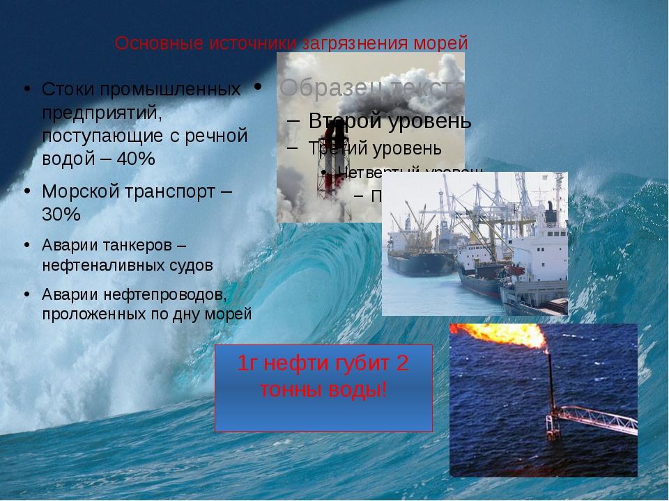 Основные источники загрязнения морей Стоки промышленных предприятий, поступаю...