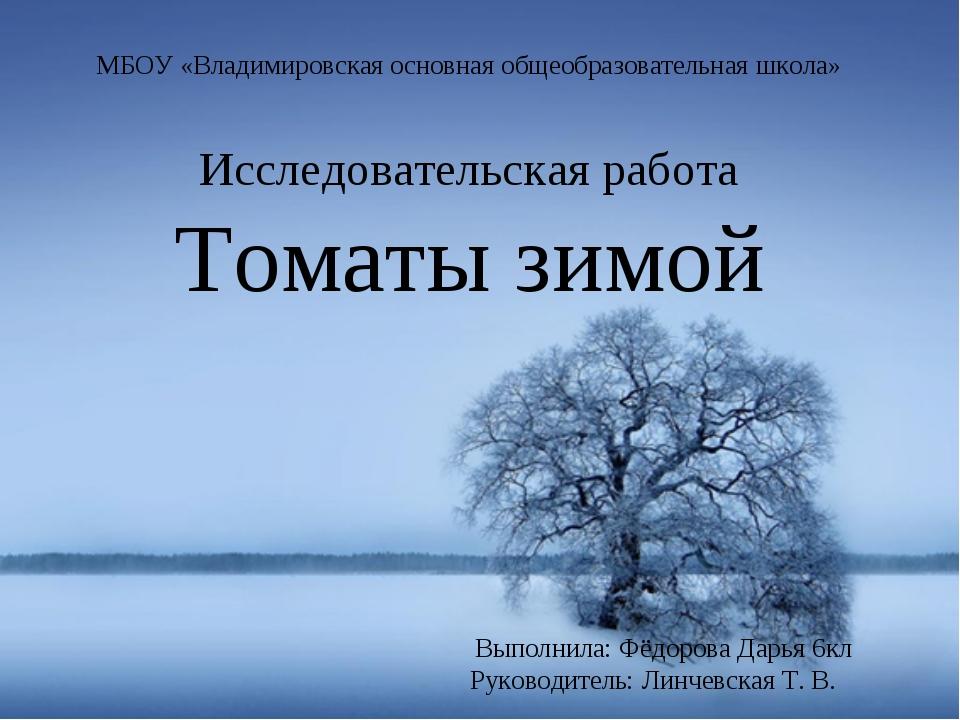 МБОУ «Владимировская основная общеобразовательная школа» Исследовательская ра...