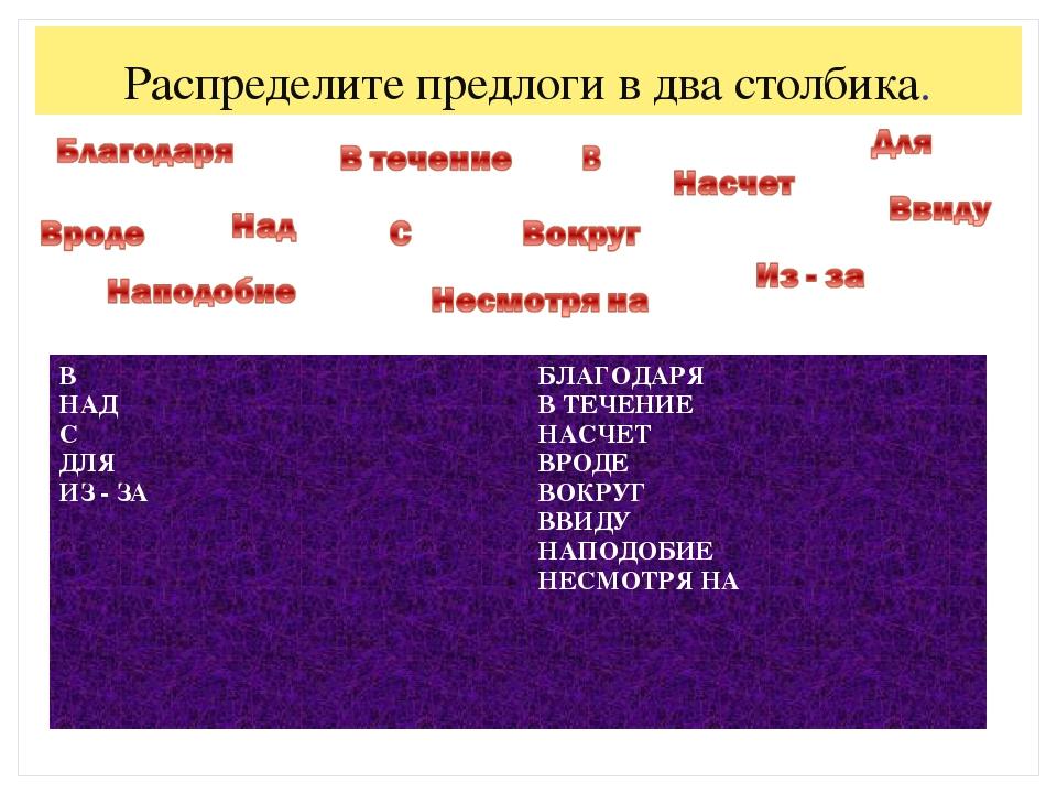 Распределите предлоги в два столбика. В НАД С ДЛЯ ИЗ - ЗАБЛАГОДАРЯ В ТЕЧЕНИЕ...