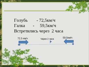 Голубь - 72,5км/ч Галка - 59,5км/ч Встретились через 2 часа 72,5 км/ч 59,5км