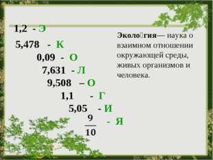 5,478 - К 0,09 - О 7,631 - Л 9,508 – О 1,1 - Г 5,05 - И - - Я  Эколо́гия— н