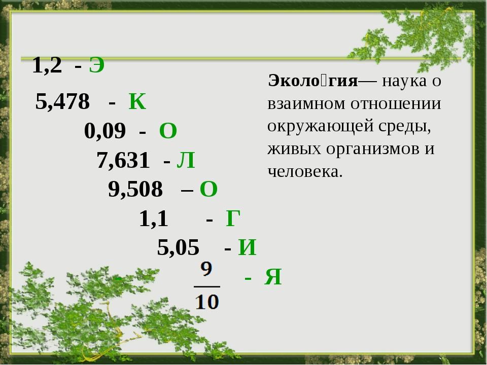 5,478 - К 0,09 - О 7,631 - Л 9,508 – О 1,1 - Г 5,05 - И - - Я  Эколо́гия— н...