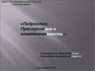 МБОУ Лесоперевалочная СОШ-№2 Аскизский район с. Бельтирское, 2013г. «Подросто