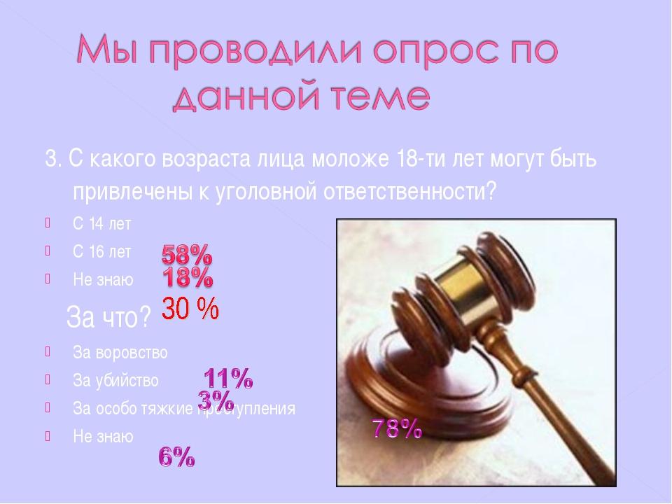 3. С какого возраста лица моложе 18-ти лет могут быть привлечены к уголовной...