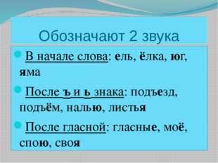 Обозначают 2 звука В начале слова: ель, ёлка, юг, яма После ъ и ь знака: подъ