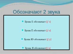 Обозначают 2 звука Буква Е обозначает [ј'э] Буква Ё обозначает [ј'о] Буква Ю