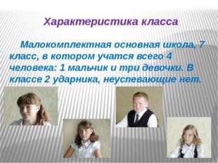 Характеристика класса Малокомплектная основная школа, 7 класс, в котором учат
