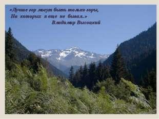 «Лучше гор могут быть только горы, На которых я еще не бывал..» Владимир Выс