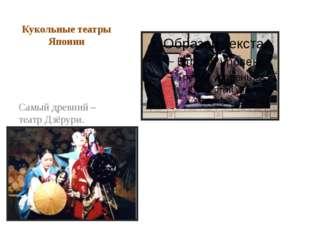 Кукольные театры Японии Самый древний – театр Дзёрури. Позднее возник театр к