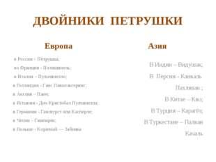 ДВОЙНИКИ ПЕТРУШКИ Европа в России – Петрушка; во Франции - Полишинель; в Итал