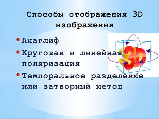 Анаглиф Круговая и линейная поляризация Темпоральное разделение или затворный...
