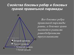 Свойства боковых ребер и боковых граней правильной пирамиды Все боковые ребр