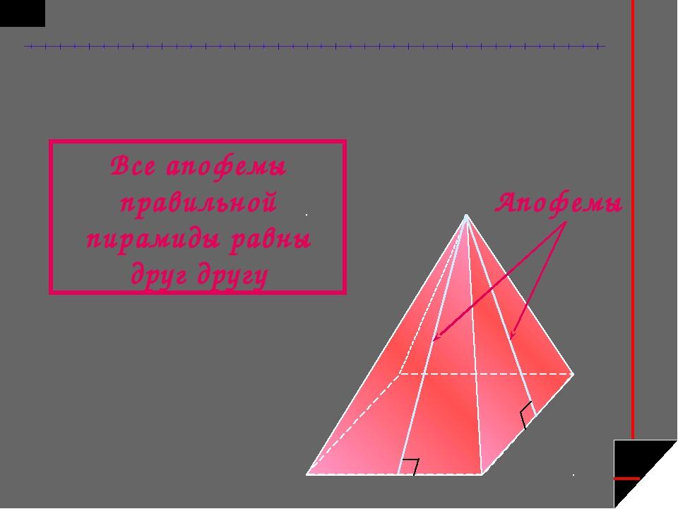 Апофемы Все апофемы правильной пирамиды равны друг другу
