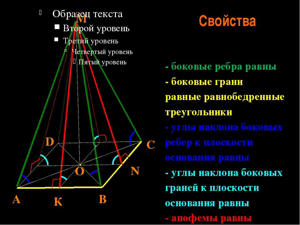 Свойства - боковые ребра равны - боковые грани равные равнобедренные треуголь...