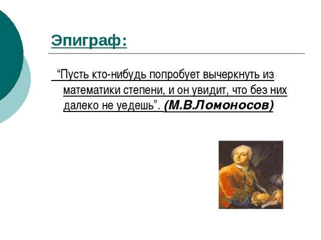 """Эпиграф: """"Пусть кто-нибудь попробует вычеркнуть из математики степени, и он у..."""