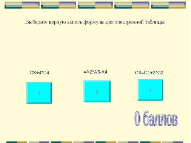 Выберите верную запись формулы для электронной таблицы: 1 3 2 C3+4*D4 =A2*A3-...