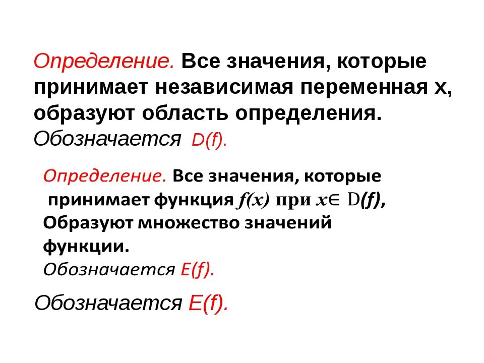 Определение. Все значения, которые принимает независимая переменная x, образу...