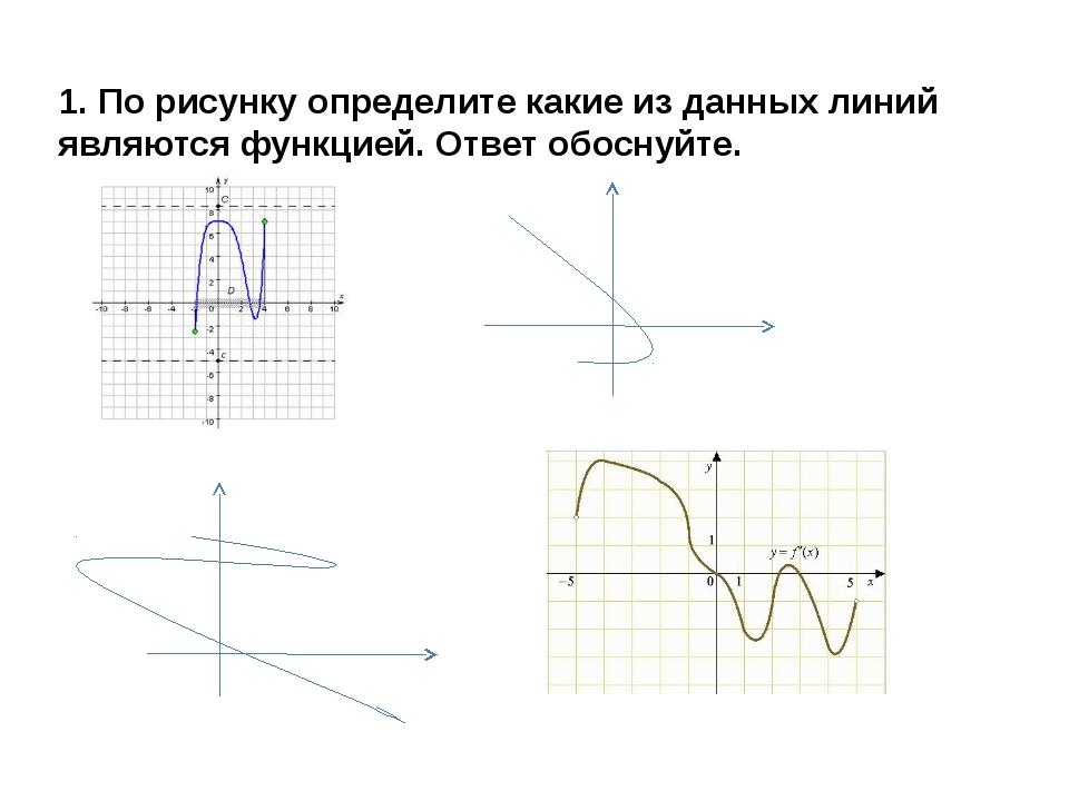 1. По рисунку определите какие из данных линий являются функцией. Ответ обосн...