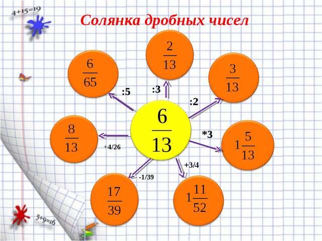 Солянка дробных чисел :3 :5 :2 *3 +3/4 -1/39 +4/26