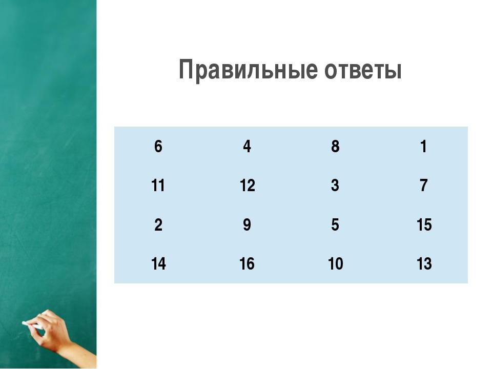 Правильные ответы 6 4 8 1 11 12 3 7 2 9 5 15 14 16 10 13