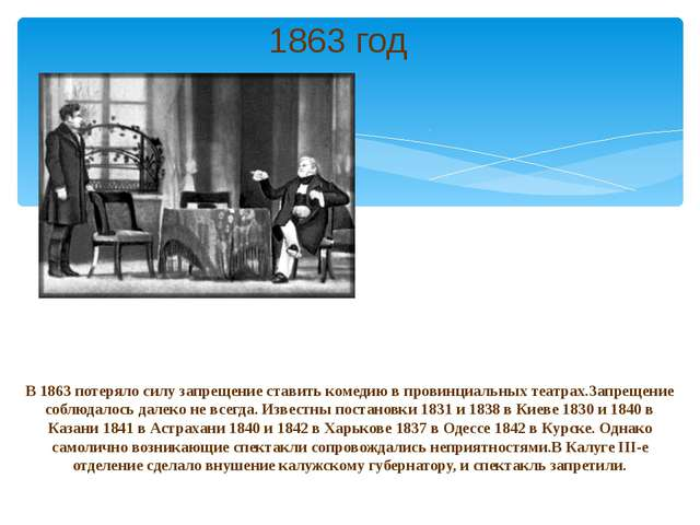 В 1863 потеряло силу запрещение ставить комедию в провинциальных театрах.Запр...