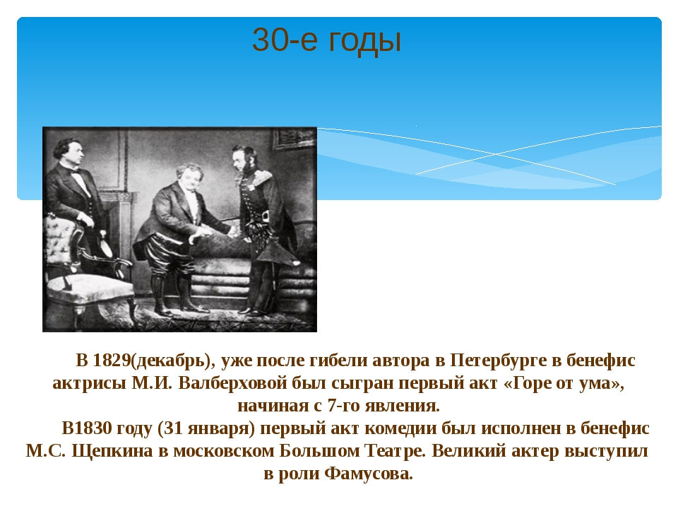 В 1829(декабрь), уже после гибели автора в Петербурге в бенефис актрисы М.И....