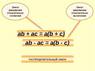 Закон умножения относительно вычитания ab + ac = a(b + c) ab - ac = a(b - c)