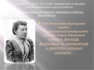 Зиму 1873 и весну 1874 года Ковалевская посвящает исследовательской научной р