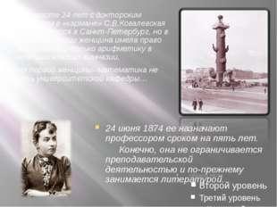 В возрасте 24 лет с докторским дипломом в «кармане» С.В.Ковалевская возвращае