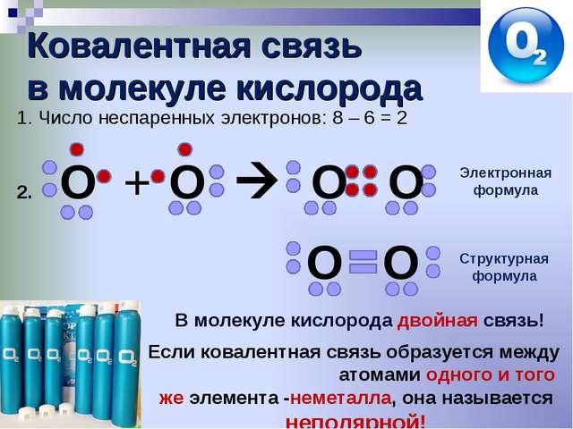 Ковалентная связь в молекуле кислорода Число неспаренных электронов: 8 – 6 =...
