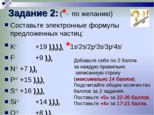 Задание 2: (*- по желанию) Составьте электронные формулы предложенных частиц: