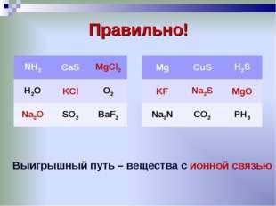 Правильно! Выигрышный путь – вещества с ионной связью NH3CaSMgCl2 H2OKClO