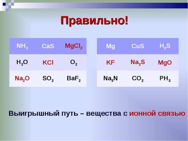 Правильно! Выигрышный путь – вещества с ионной связью NH3CaSMgCl2 H2OKClO...