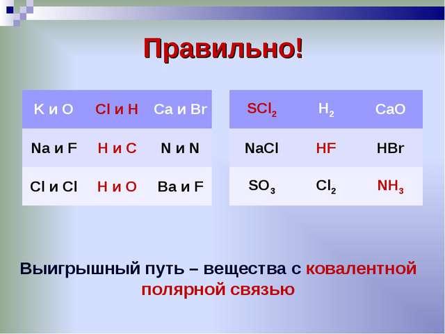 Правильно! Выигрышный путь – вещества с ковалентной полярной связью K и OCl...