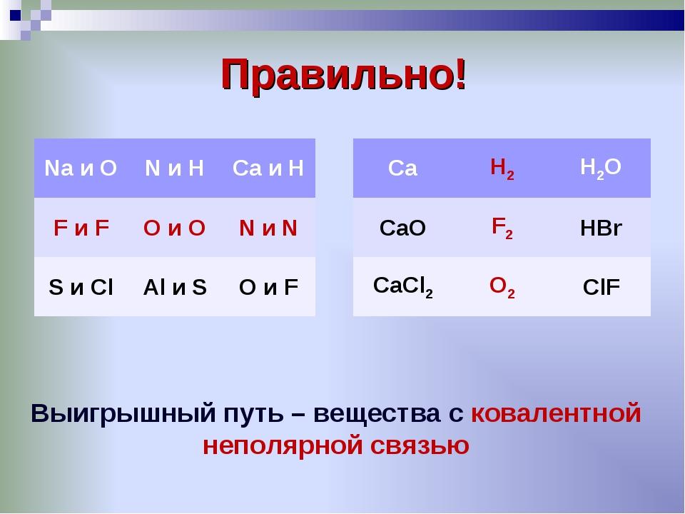 Правильно! Выигрышный путь – вещества с ковалентной неполярной связью Na и O...