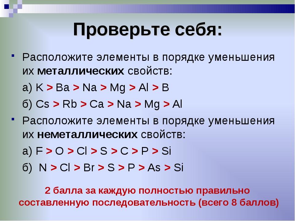 Проверьте себя: Расположите элементы в порядке уменьшения их металлических св...