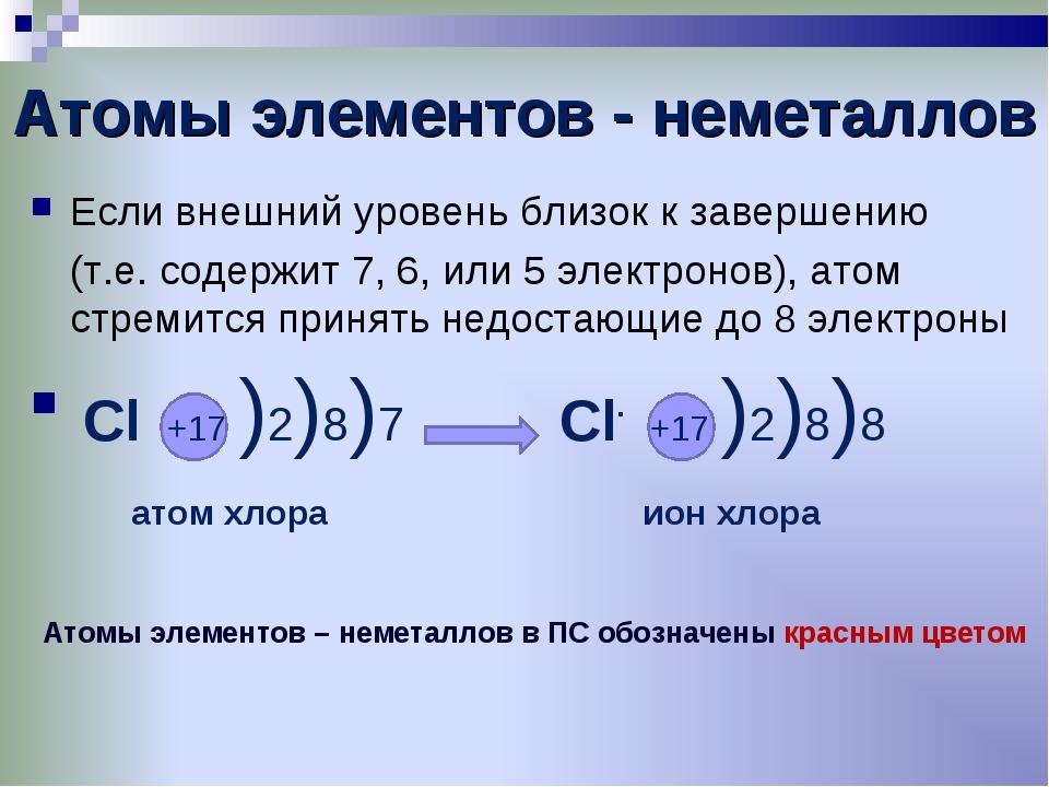 Атомы элементов - неметаллов Если внешний уровень близок к завершению (т.е....
